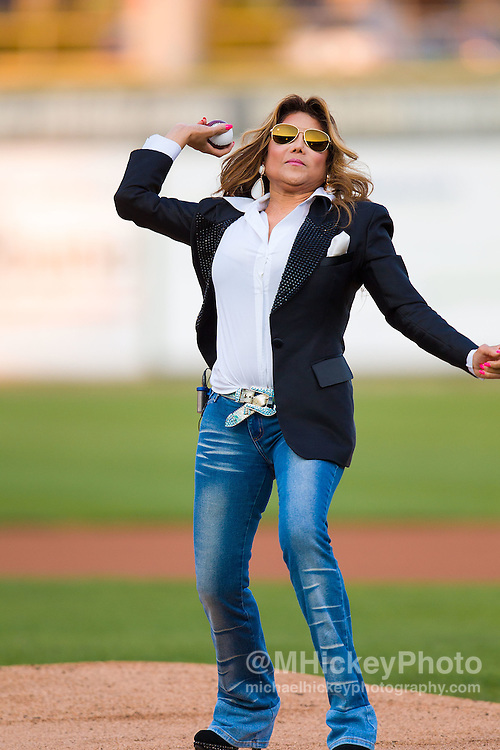 La Toya Jackson throws out the first pitch at Gary Railcats baseball game at the Steelyard in Gary, Indiana.