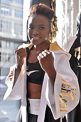 © Licensed to London News Pictures. 08/02/2018. London, UK. World and Olympic boxing champion Nicola Adams MBE launches a range of sports clothing with Everest Worldwide to be sold exclusively in Selfridges department store. The main collection consists of 10 pieces including long line hoodie's, crew necks, and t-shirts, providing casual wear for use either on the way to the gym or other leisure activities.Photo credit: Ray Tang/LNP