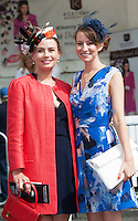 30/07/2015 report free : Winners Announced in Kilkenny Best Dressed Lady, Kilkenny Best Irish Design &amp; Kilkenny Best Hat Competition at Galway Races Ladies Day <br /> At the event was Orla Burke, Sligo and Francesca Stadden, Manchester.<br /> Photo:Andrew Downes, xposure