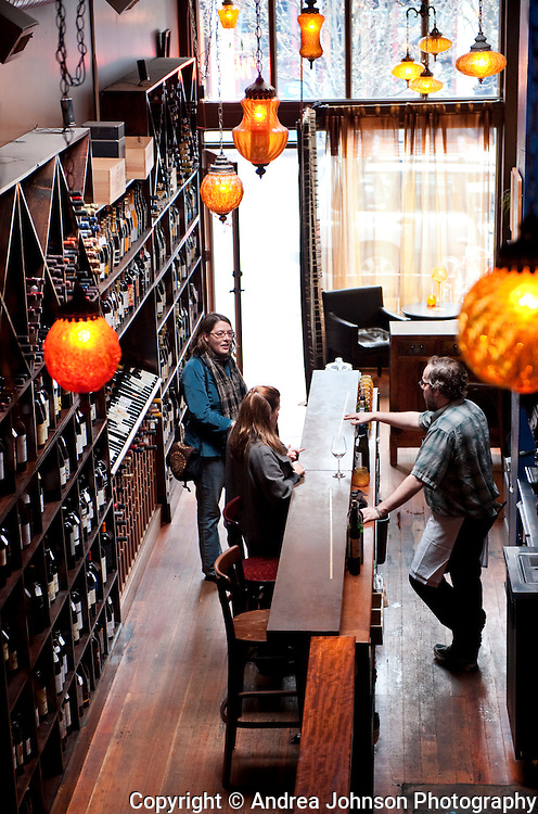 A group of women enjoying the Lupa wine bar, Portland, Oregon