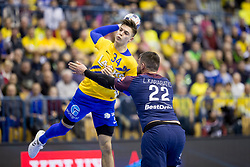 Domen Makuc of RK Celje Pivovarna Lasko and Luka Karabatic of PSG during handball match between RK Celje Pivovarna Lasko (SLO) and Paris Saint-Germain Handball (FRA) in VELUX EHF Champions League, on February 11, 2018 in Dvorana Zlatorog, Celje, Slovenia. Photo by Urban Urbanc / Sportida