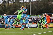 Forest Green Rovers Farrend Rawson(20) and Coventry City's Liam Kelly(6) during the EFL Sky Bet League 2 match between Forest Green Rovers and Coventry City at the New Lawn, Forest Green, United Kingdom on 3 February 2018. Picture by Shane Healey.