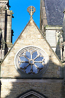 Gothic Revival 13th century style rose window in the south porch at Bury Parish Church, Lancashire, UK. Built 1871-1876 by J. S. Crowther architect