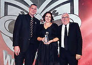 Graeme Lee and Sir Peter Leitch with Sir Peter Leitch Member of the Year Emma Harper. Vodafone Warriors Awards 2016. NRL Rugby League. Shed 10, Auckland, New Zealand. Tuesday 13 September 2016. © Copyright Photo: Andrew Cornaga / www.Photosport.nz