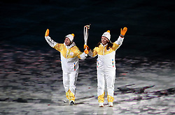 Torch bearers during the Opening Ceremony of the PyeongChang 2018 Winter Olympic Games at the PyeongChang Olympic Stadium in South Korea.