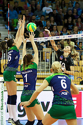 Olivera Kostic of Calcit Ljubljana vs Klaudia Kaczorowska of PGE Atom Trefl Sopot and Maja Tokarska of PGE Atom Trefl Sopot during the volleyball match between Calcit Ljubljana and  PGE Atom Trefl Sopot at 2016 CEV Volleyball Champions League, Women, League Round in Pool B, 1st Leg, on October 29, 2016, in Hala Tivoli, Ljubljana, Slovenia.  (Photo by Matic Klansek Velej / Sportida)