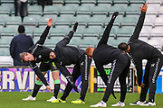 FGR players warming up during the EFL Sky Bet League 2 match between Yeovil Town and Forest Green Rovers at Huish Park, Yeovil, England on 8 December 2018.