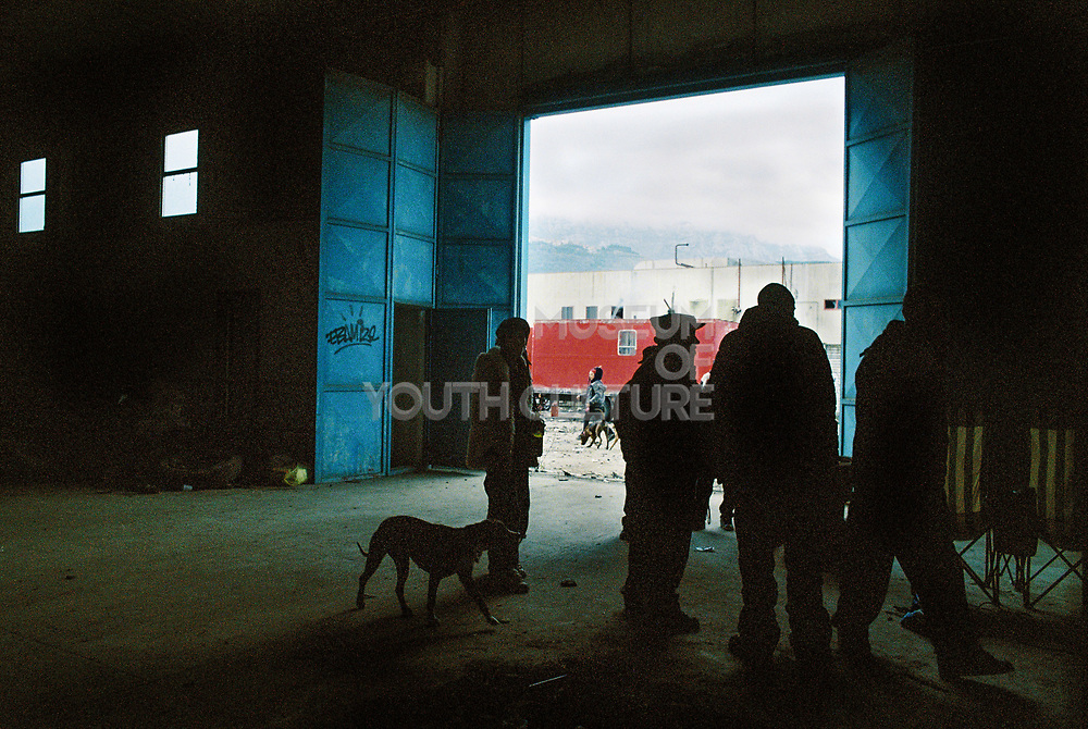 View inside a warehouse at Napoli NYE Tek, a New Year's Eve party in Naples, Italy, December 2014