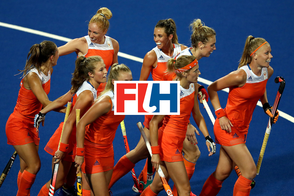 RIO DE JANEIRO, BRAZIL - AUGUST 08:  Team Netherlands celebrates a goal over Korea during a Women's Pool A match on Day 3 of the Rio 2016 Olympic Games at the Olympic Hockey Centre on August 8, 2016 in Rio de Janeiro, Brazil.  (Photo by Sean M. Haffey/Getty Images)