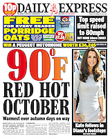 Daily Express Page One: The Duchess of Cambridge visits the Royal Marsden Hospital, Sutton. <br /> PICTURE BY JAMES WHATLING