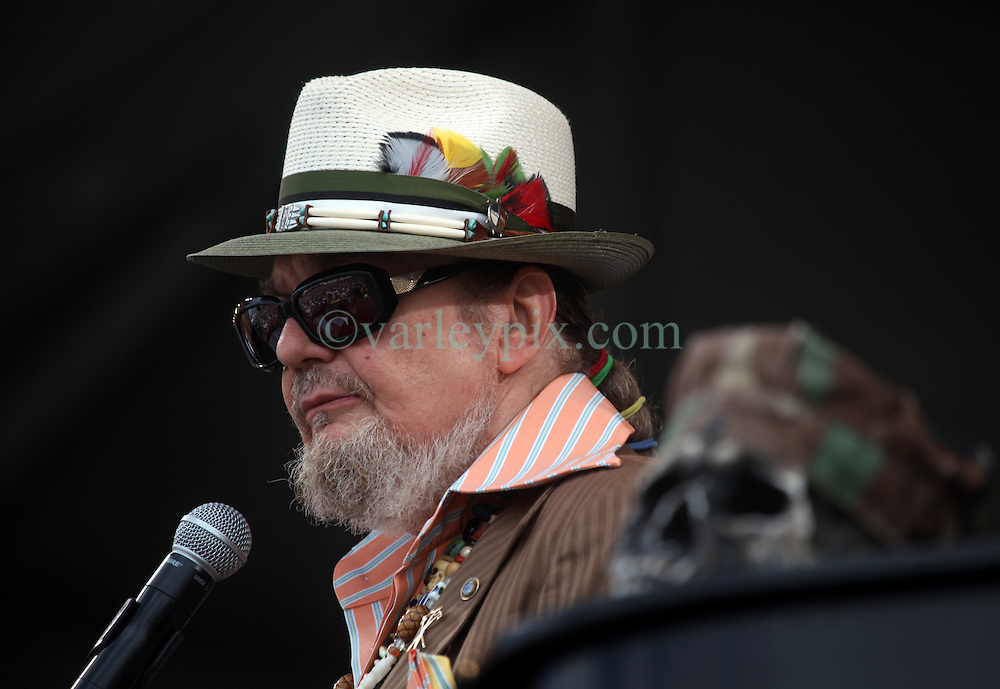"29 April 2012. New Orleans, Louisiana,  USA. <br /> New Orleans Jazz and Heritage Festival. <br /> Rock and Roll Hall of Famer and multiple Emmy winner Dr John. (Malcolm John ""Mac"" Rebennack, Jr)<br /> Photo credit; Charlie Varley/varleypix.com"