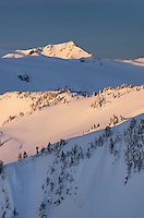 Winter dawn splashes golden light on slopes in the Mount Baker Wilderness, Washington