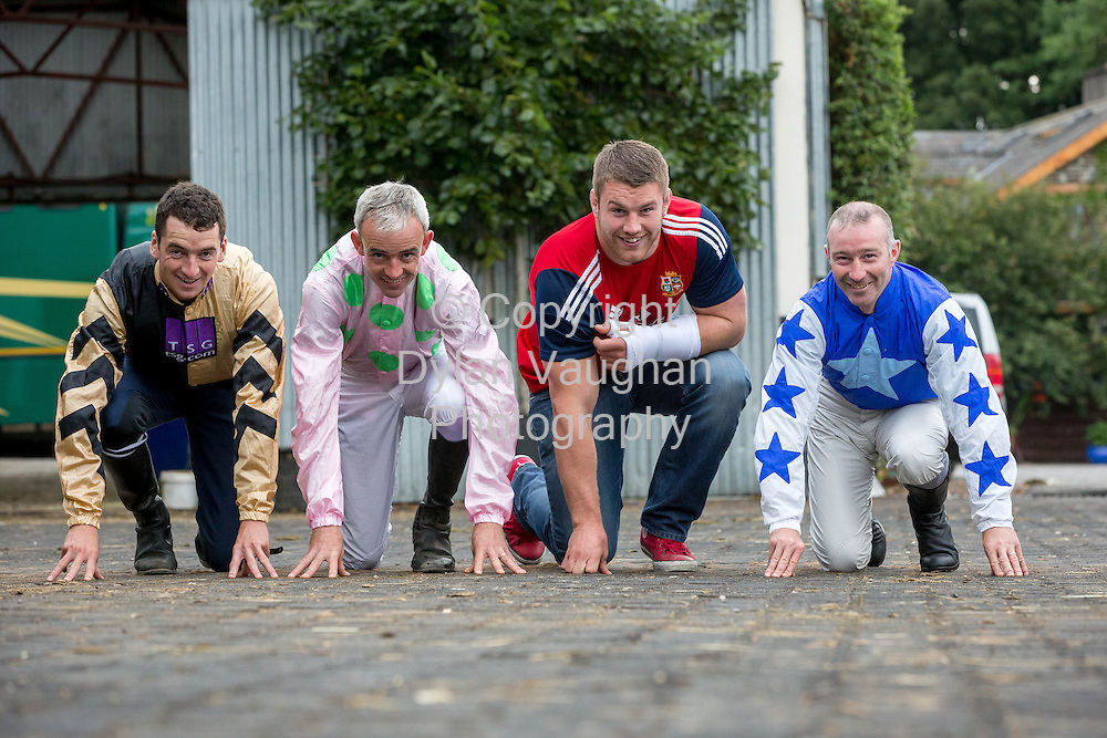 Repro free no charge for Repro<br /> <br /> 23/7/2013<br /> <br /> &lsquo;Champion Irish Jockeys Launch Fundraising Marathon&rsquo;<br /> <br /> Launched with the help of top Irish jockeys the event will help over 6,000 family carers across Kilkenny and Carlow<br /> <br />  <br /> <br /> The launch of &lsquo;Carlow Half/Mini Marathon&rsquo; took place this morning with the help of champion Irish jockeys and an Irish rugby hero. The fundraising marathon will help raise vital funds for over 6,000 family carers across Kilkenny and Carlow. The Superbowl Development in Carlow which provides sports facilities to the community will also benefit from the fundraising event. The marathon will take place on September 1st marathon and there will be a fun family day held in the Superbowl Park.<br /> <br /> Pictured at the launch was Patrick Mullins, Ruby Walsh, Sean O'Brien and David Casey.<br /> Picture Dylan Vaughan.<br /> <br /> High profile jockeys, Ruby Walsh, Patrick Mullins, Paul Townsend, David Casey and Willie Mullins along with Irish Rugby hero Sean O&rsquo;Brien came out to support the event which will raise help support the over 6,000 family carers across Carlow and Kilkenny who provide unpaid care in the home each week to frail older people, those terminally ill and with disabilities. Family carers across Ireland save the health budget over four billion euro each year at a time of mass emigration and a rapidly ageing population, the demands on family carers have never been greater.<br />  <br /> <br /> &ldquo;This fundraising event will play a vital role in the development of support &amp; services to family carers in the Carlow and Kilkenny region.  There are over 6,500 Carers registered to date and although we receive allocated funding from government it&rsquo;s not enough to sustain these vital supports particularly in light of recent cuts in funding. We would like to express our thanks to Brook Sports &amp; W.P. Mullins and volunteers Josie Daly and Mary O&rsquo;Brien&rdquo; said Pat Grogan, Regional Manager, The Carers Association.<br /> <br />  <br /> <br /> &ldquo;The Superbowl Development Fund is an important support to the community