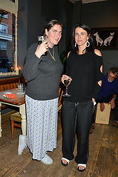 Left to right, REBECCA GUINNESS and EMILY SHEFFIELD at a quiz night hosted by Zoe Jordan to celebrate the launch of her men's ZJKNITLAB collection held at The Larrick Pub, 32 Crawford Place, London on 20th April 2016.