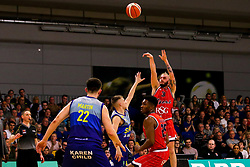 Jordan Nicholls of Bristol Flyers shoots - Photo mandatory by-line: Robbie Stephenson/JMP - 29/03/2019 - BASKETBALL - English Institute of Sport - Sheffield, England - Sheffield Sharks v Bristol Flyers - British Basketball League Championship