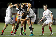Widnes' Macgraff Leuluai Manase Manuokafoa and Lloyd White team upto stop Hull's Josh Bowden during the Super 8s Round 2 match between Widnes Vikings and Hull FC at the Select Security Stadium, Halton, United Kingdom on 11 August 2016. Photo by Craig Galloway.