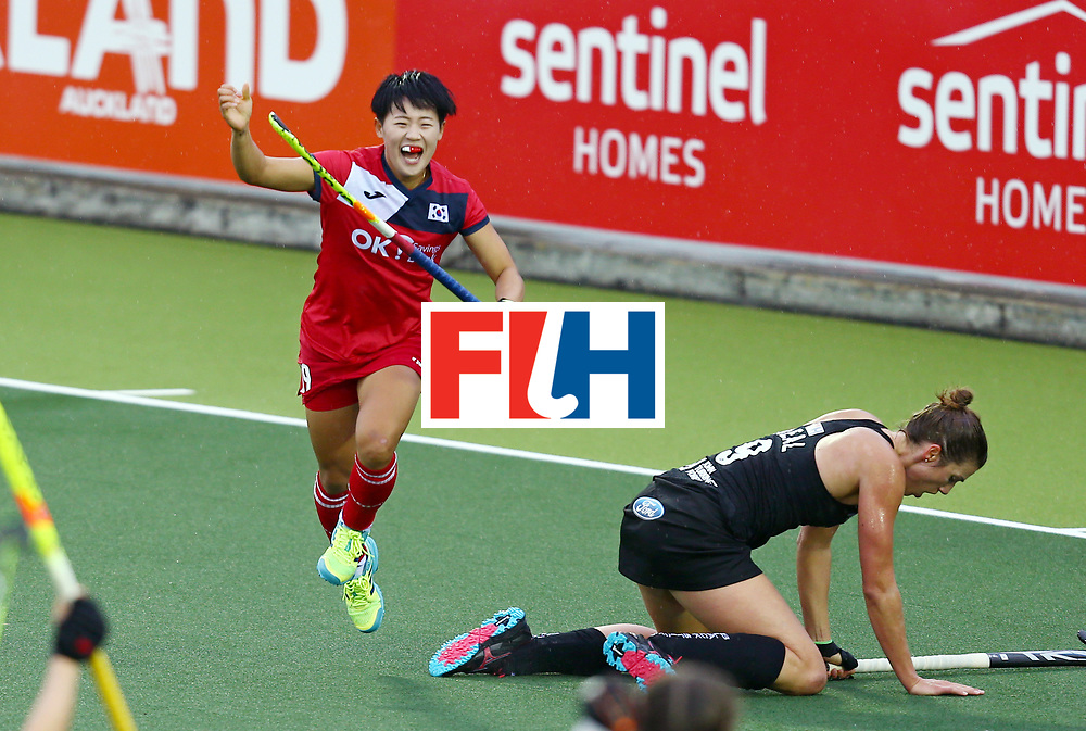 New Zealand, Auckland - 18/11/17  <br /> Sentinel Homes Women&rsquo;s Hockey World League Final<br /> Harbour Hockey Stadium<br /> Copyrigth: Worldsportpics, Rodrigo Jaramillo<br /> Match ID: 10295 - NZL vs KOR<br /> Photo: (19) CHO Hyejin celebraiting, (9) NEAL Brooke on the floor