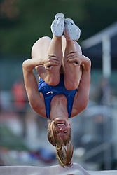 GUELPH, ON - JUNE 7: Alysha Newman does a back flip to celebrate setting a meet and new Canadian record of 4.76 metres in the pole vault at the 2019 Speed River Inferno Track and Field Festival held at Alumni Stadium at the University of Guelph in Guelph, Ontario. (Photo by Sean Burges/Icon Sportswire)