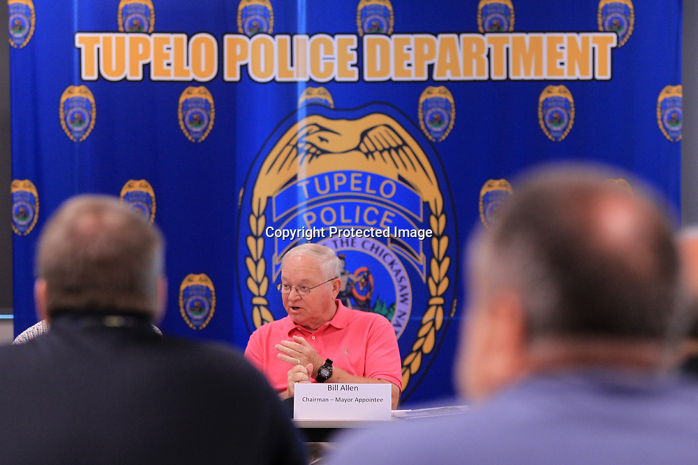 Bill Allen, Chairman of the Police Advisory Board, conducts the business of the boards first meeting that was held in the community room at the Tupelo Police Department Tuesday morning.