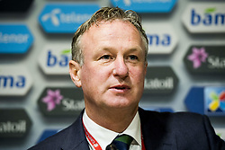 October 8, 2017 - Oslo, NORWAY - 171008 Michael O'Neill, head coach of Northern Ireland, during press conference after the FIFA World Cup Qualifier match between Norway and Northern Ireland on October 8, 2017 in Oslo..Photo: Fredrik Varfjell / BILDBYRN / kod FV / 150028 (Credit Image: © Fredrik Varfjell/Bildbyran via ZUMA Wire)