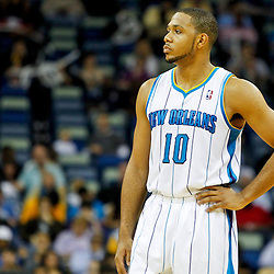 December 21, 2011; New Orleans, LA, USA; New Orleans Hornets shooting guard Eric Gordon (10) against the Memphis Grizzlies during a preseason game at the New Orleans Arena.   Mandatory Credit: Derick E. Hingle-US PRESSWIRE
