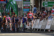 Jolien D'Hoore (BEL) riding for Wiggle HIGH5 wins the stage during the OVO Energy Women's Tour, London Stage, at Regent Street, London, United Kingdom on 11 June 2017. Photo by Martin Cole.