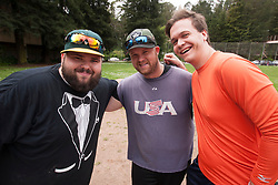 The Teebay brother, Nick, left, and Rob, pose for a photograph with Ian Acredolo, as the Montclair softball league celebrates its 50th season, Saturday, April 22, 2017, at Montclair Park in Oakland, Calif. The pickup softball game, played every Saturday by a group of enthusiasts ranging in age from 20 to 75, started in 1968 in Berkeley and moved to Montclair about 25 years ago. (Photo by D. Ross Cameron)