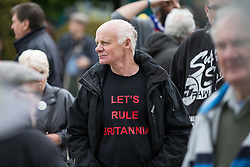 "© Licensed to London News Pictures . 25/05/2016 . Bolton , UK . Man wearing "" Let's Rule Britannia "" t-shirt . The UKIP referendum bus tour , campaigning for a UK Brexit , lead by Nigel Farage , in Victoria Square , Bolton . Photo credit : Joel Goodman/LNP"