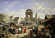View of the Market and Fountain of the Innocents', Paris, 1822. Oil on canvas. John James Chalon (1778-1854) British painter. Busy market scene with fruit and vegetable stalls, shoppers and horse-drawn wagons.
