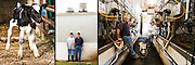 A father and his teenage son work on the family owned and operated dairy farm in Kansas.