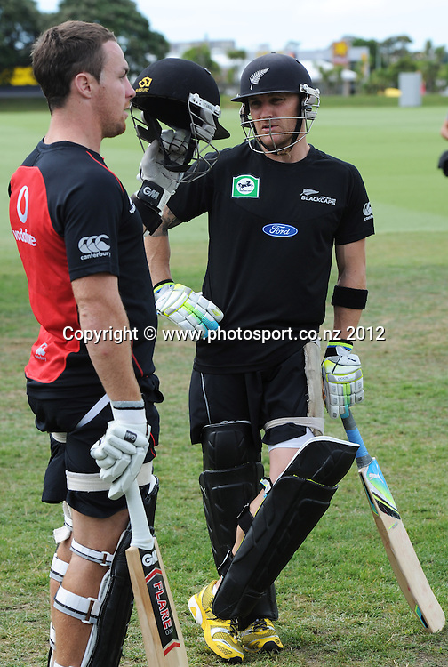James Maloney and Brendon McCullum as the Vodafone Warriors joined the New Zealand Black Caps for a training session at Colin Maiden Oval, Auckland on Tuesday 21 February 2012. Photo: Andrew Cornaga/Photosport.co.nz