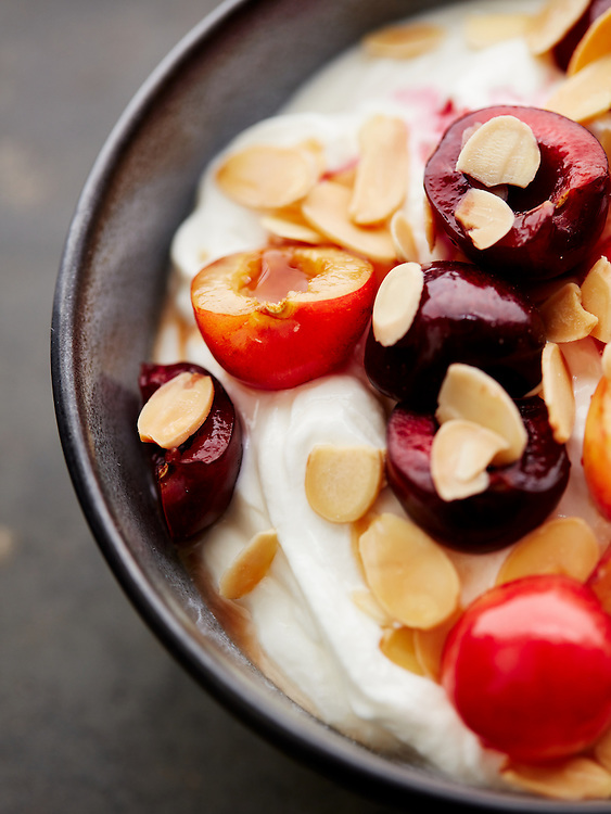 Yogurt with Cherries and Almonds