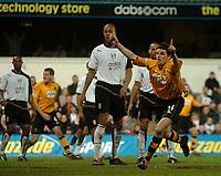 Fotball<br /> Photo: Glyn Thomas, Digitalsport<br /> NORWAY ONLY<br /> <br /> Fulham v Blackburn. FA Barclaycard Premiership. <br /> Loftus Road, Luton. 12/04/2004.<br /> Blackburn's John Douglas (R) celebrates scoring his side's equaliser.