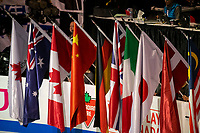 KELOWNA, BC - OCTOBER 25: Country flags lean on the boards during the opening ceremonies of Skate Canada International at Prospera Place on October 25, 2019 in Kelowna, Canada. (Photo by Marissa Baecker/Shoot the Breeze)