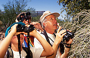 Leader Victor Emanuel, right, points out a bird to Camp Chiricahua kids, Tucson, Arizona..Media Usage:.Subject photograph(s) are copyrighted Edward McCain. All rights are reserved except those specifically granted by McCain Photography in writing...McCain Photography.211 S 4th Avenue.Tucson, AZ 85701-2103.(520) 623-1998.mobile: (520) 990-0999.fax: (520) 623-1190.http://www.mccainphoto.com.edward@mccainphoto.com.