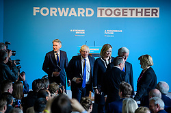 © Licensed to London News Pictures. 18/05/2017. Halifax, UK.  Chancellor PHILIP HAMMOND, Foreign secretary BORIS JOHNSON,  Home Secretary AMBER RUDD and Defence secretary MICHAEL FALLON take their seats for the launch event for the Conservative Party manifesto at The Arches in Halifax, West Yorkshire. The Conservatives are the last of the three main parties to launch their manifesto ahead of a snap general election called for June 8, 2017. Photo credit: Ben Cawthra/LNP