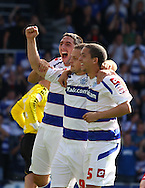 Loftus Road, London - Saturday 11th September 2010: Heidar Helguson (9) of QPR, Bradley Orr (2) of QPR  and Fitz Hall (5) of QPR celebrate their first goal scored from the spot during the Npower Championship match between Queens Park Rangers and Middlesborough. (Photo by Andrew Tobin/Focus Images)