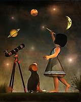 Once again, Amy has taken to the task of educating her beagle Buddy. This time, she has his undivided attention for learning about the stars and planets. Buddy watches intently, as an enthusiastic Amy shows Buddy the wonders of our solar system and beyond. The splashes of planets and stars gives this painting a distinct, otherworldly quality. It is one of the most unique, mesmerizing pieces in the Amy and Buddy collection. It is quite easy to get lost in something like this. The piece is available as wall-art, t-shirts, or through a variety of interior products. .<br /> <br /> BUY THIS PRINT AT<br /> <br /> FINE ART AMERICA<br /> ENGLISH<br /> https://janke.pixels.com/featured/educating-astronomy-jan-keteleer.html<br /> <br /> <br /> WADM / OH MY PRINTS<br /> DUTCH / FRENCH / GERMAN<br /> https://www.werkaandemuur.nl/nl/shopwerk/Kinderen-Kunst-Het-opleiden-in-de-astronomie/438466/134