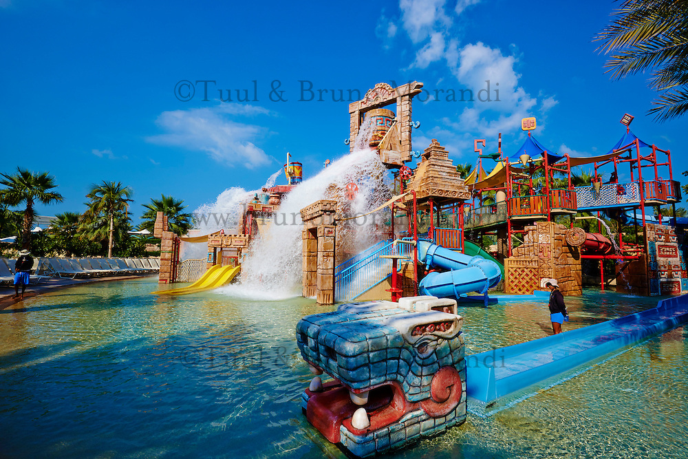 Emirats Arabes Unis, Dubai, le quartier de New Dubai, le Palm Jumeirah, hotel Atlantis, Aquavenure water park// United Arab Emirates, Dubai, The Palm Jumeirah, Aquaventure water park