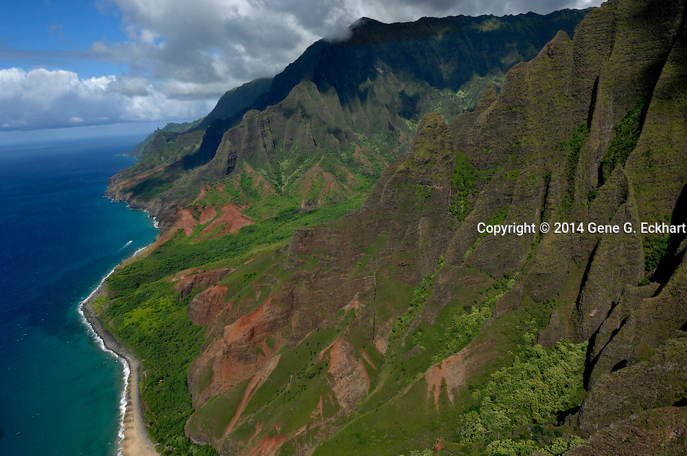 This shot of the coastline was taken on the western side of the island of Kauai. This the Napali coast photographed from the air.