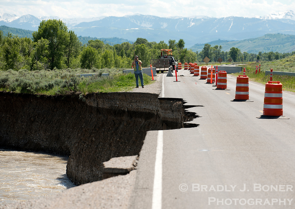 Erosion along the Gros Ventre River has begun eating into the adjacent Gros Ventre Road in this image from Tuesday afternoon in Grand Teton National Park.