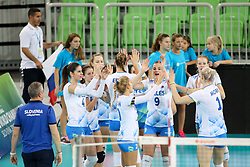 Players of Slovenia during the volleyball match between National team of Slovenia and Dominican Republic in Preliminary Round of Womens U23 World Championship 2017, on September 11, 2017 in SRC Stozice, Ljubljana, Slovenia. Photo by Morgan Kristan / Sportida