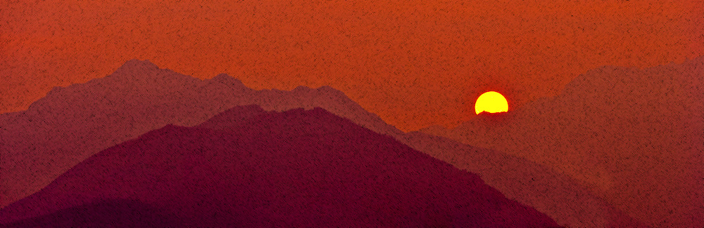 Mount Jupiter in the Washington state Olympic Mountains viewed from the Kitsap Peninsula in Puget Sound -silhouette warm toned digital painting with reticulation texture panorama