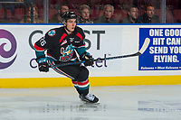 KELOWNA, CANADA - OCTOBER 4: Liam Kindree #26 of the Kelowna Rockets skates against the Victoria Royals on October 4, 2017 at Prospera Place in Kelowna, British Columbia, Canada.  (Photo by Marissa Baecker/Shoot the Breeze)  *** Local Caption ***