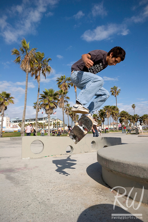 Skater Jumps Off Ledge, Venice Beach, California