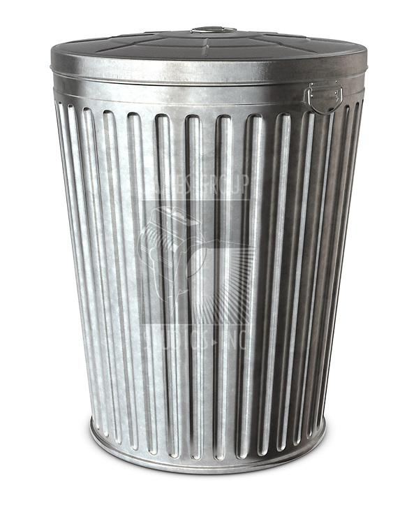 A galvanized trash can on a white background with clipping path