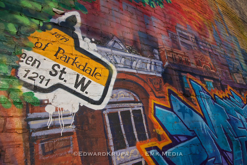 Grafitti depicting the Parkdale neighbourhood in Toronto Canada.