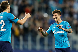 November 23, 2017 - Saint Petersburg, Russia - Emiliano Rigoni (R) of FC Zenit Saint Petersburg celebrates his goal with Artem Dzyuba during the UEFA Europa League Group L match between FC Zenit St. Petersburg and FK Vardar at Saint Petersburg Stadium on November 23, 2017 in Saint Petersburg, Russia. (Credit Image: © Mike Kireev/NurPhoto via ZUMA Press)