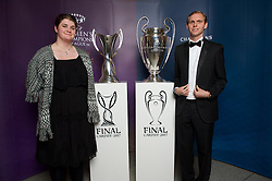 CARDIFF, WALES - Monday, December 5, 2016: Guests at the Wales Sport Awards 2016 pose with the UEFA Champions League Trophies before the ceremony at the Millennium Centre.British Paralympic track and field athlete Sabrina Fortune.  (Pic by Ian Cook/Propaganda)