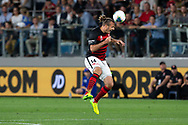 SYDNEY, AUSTRALIA - OCTOBER 26: Western Sydney Wanderers forward Alex Meier (14) heads the ball during the round 3 A-League soccer match between Western Sydney Wanderers FC and Sydney FC on October 26, 2019 at Bankwest Stadium in Sydney, Australia. (Photo by Speed Media/Icon Sportswire)